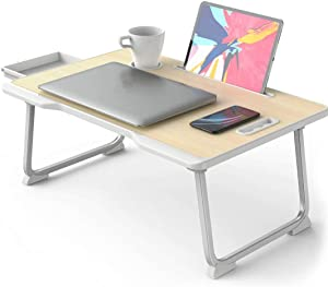Laptop Desk for Bed, Portable Bed Computer Desk for Laptop and Writing, Bed Tables Tray for Eating and Laptops with Folding Legs, Breakfast Trays for Bed/Sofa/Chair(Wood)