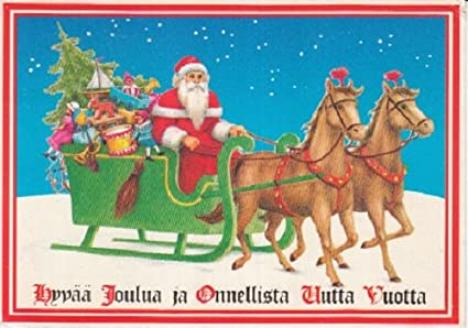 Amazon used postcard finnish language finland merry christmas used postcard finnish language finland merry christmas happy new year greetings santa claus sleigh reindeer m4hsunfo