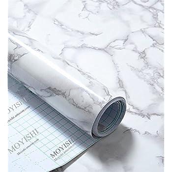 Grey Granite Look Marble Gloss Film Vinyl Self Adhesive Counter Top Peel and Stick Wall Decal 24''x79''