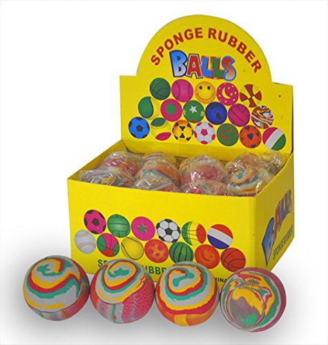 X4 Marble Effect Bouncy Sponge Ball Pocket Money Party Bag Filler Toy by Palgrave