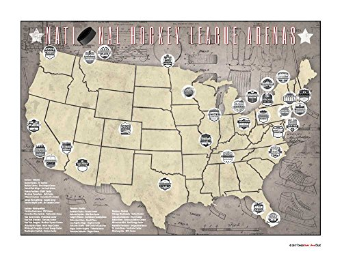 Benthar Dunthat Professional Hockey Stadiums Arenas Pro Teams Print-Only Tracking Map, 24x18 (Best Nhl Arenas To Visit)