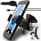 Black Sony Xperia M2 Car Holder with 1000 mAh MicroUSB Car Charger Claw Multi-Directional Dashboard / Windscreen Case Compatible (Use with or without your existing case!) Clip On Suction Mount