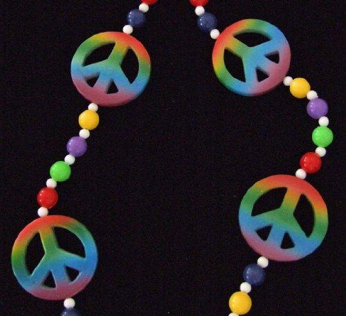 Rainbow Hippy Peace Sign Mardi Gras Bead Necklace