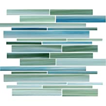 Sample - Rip Curl Green and Blue Hand Painted Linear Glass Mosaic Tiles