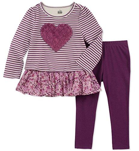 - Kids Headquarters Girls' Toddler 2 Pieces Legging Set, Grapejuice/Stripes, 2T