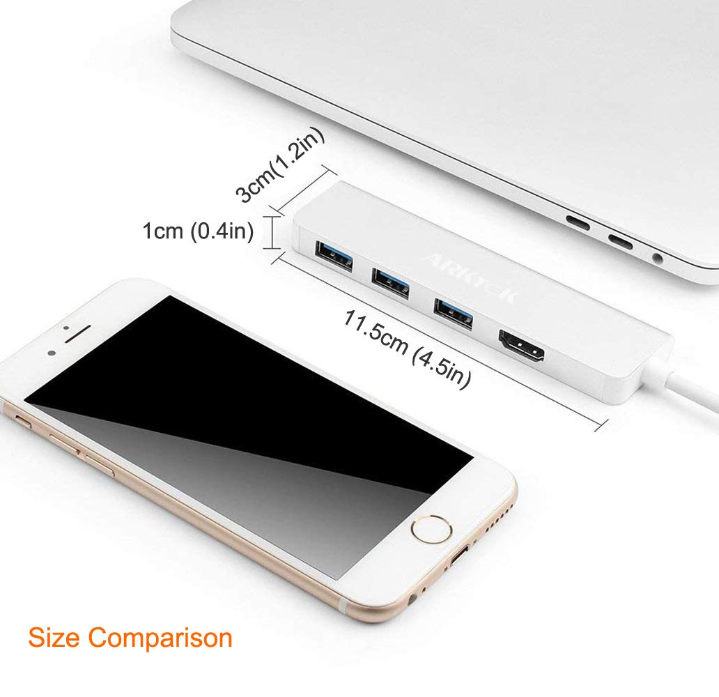 and More Thunderbolt 3 Compatible Galaxy S9 Note 9 ARKTEK USB-C to HDMI Adapter USB Type C to 4K HDMI Triple USB 3.0 4-in-1 Cable Adapter for Surface Book 2