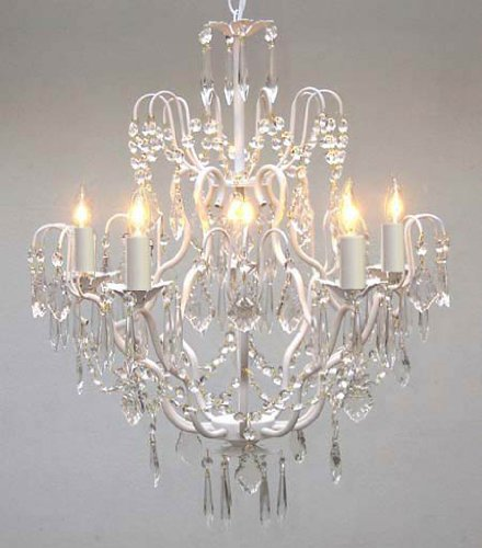 - Wrought Iron Crystal Chandelier Lighting Country French White, 5 Lights, Ceiling Fixture