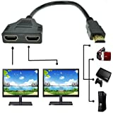 ZY HDMI Male to Dual HDMI Female 1 to 2 Way HDMI Splitter Adapter Cable For HDTV, Support Two TVs at the Same Time, Signal One in, Two out