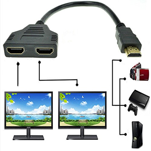 (ZY HDMI Male to Dual HDMI Female 1 to 2 Way HDMI Splitter Adapter Cable for HDTV, Support Two TVs at The Same Time, Signal One in, Two Out(Black))