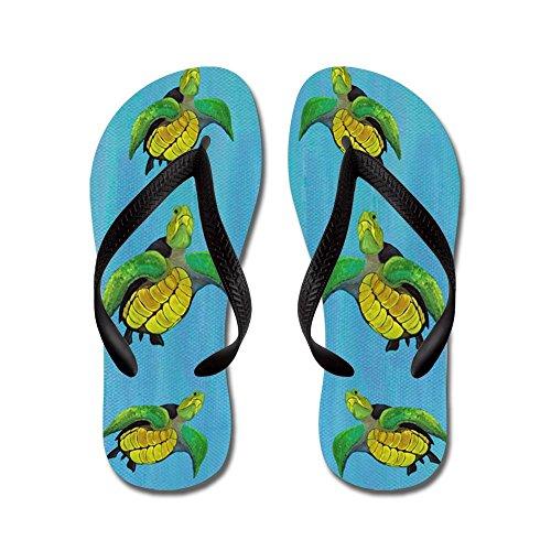 Cafepress Zeeschildpadden - Flip Flops, Grappige String Sandalen, Strand Sandalen Zwart
