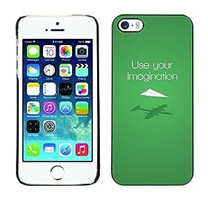 LASTONE PHONE CASE / Carcasa Funda Prima Delgada SLIM Casa Carcasa Funda Case Bandera Cover Armor Shell para Apple Iphone 5 / 5S / Use Imagination Green Modern Design
