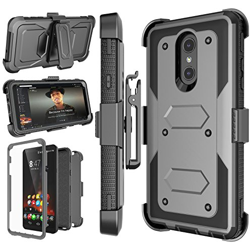 LG Stylo 4 Case, LG Q Stylus Holster Clip, Njjex [Nbeck] Shockproof Heavy Duty Built-in Screen Protector Rugged Locking Swivel Belt Clip Kickstand Hard Phone Cover for LG Styus 4/Stylo 4 Plus [Grey]