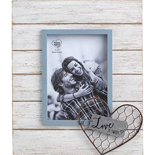 (Precious Moments Farmhouse Decor Love Is Sweet Wood/Metal/Glass 5 x 7 Photo Frame)
