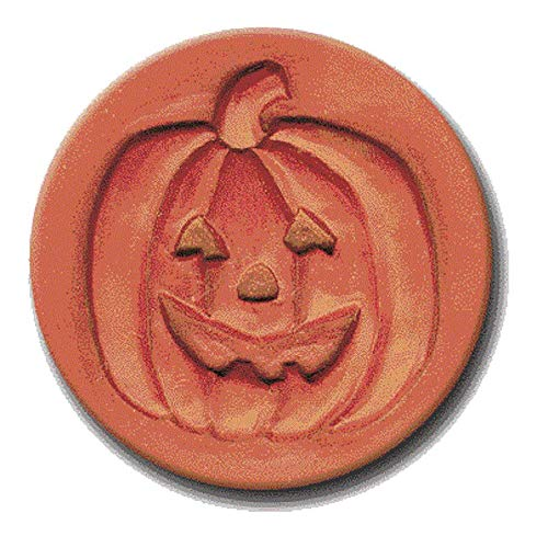RYCRAFT 2 inch Round Cookie Stamp with Handle & Recipe Booklet-JACK O LANTERN PUMPKIN