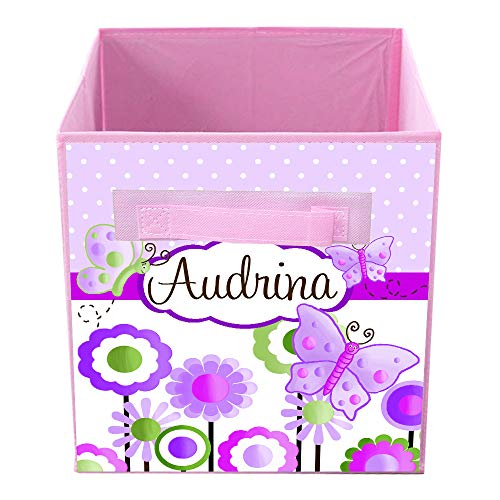 Toad and Lily Lilac Butterfly Fabric Bin Girl's Personalized Bedroom Baby Nursery Organizer for Toys or Clothing FB0005 -