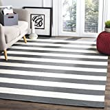 Safavieh Montauk Collection MTK712G Handmade Flatweave Grey and Ivory Cotton Area Rug (5' x 8')