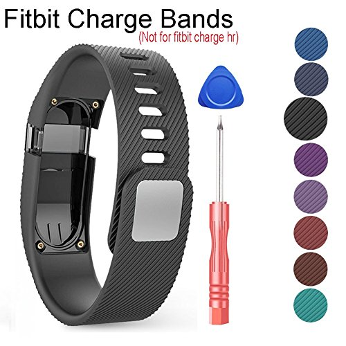 Compatible Fitbit Charge Bands-Budesi Replacement Band Wristband Strap Compatible for Fitbit Charge Tracker Black-Large(Not Compatible Fitbit Charge HR)