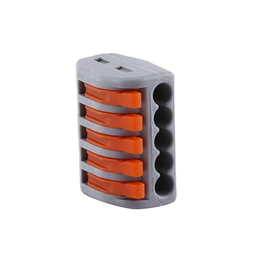 Akozon Bornier /à Levier /à Ressort 20pcs 2//3//5 Way Bornier /à Ressort R/éutilisable Bornier /électrique C/âble de Connexion