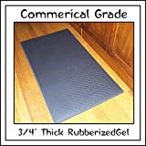 """The Next Generation Gel-Anti-fatigue Kitchen Mats, Flat Black Rubberized Gel Foam, new thicker, new edges. 20"""" Wide By 36"""" Long. Reduce the Standing Pressure on Back, Leg and Foot for Increase Kitchen Comfort - any Work Space"""