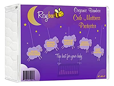 Roybee Crib Mattress Protector - Organic All Natural Hypoallergenic Bamboo Fitted Crib Mattress Cover - Waterproof, Soft, Breathable