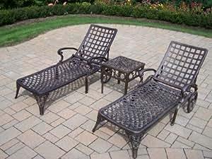 Oakland living elite cast aluminum 2 chaise for Amazon chaise longue