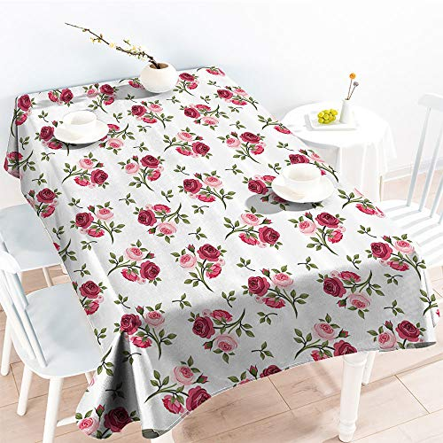 - Jinguizi Rectangular Table Covers Pattern with Rose Stems Flowers Classic English Garden Style Design Repeat Artfor Party/Picnic TableclothRed Pink Green(50 by 80 Inch Oblong Rectangular)