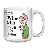 Tree-Free Greetings Extra Large 20-Ounce Ceramic Coffee Mug, Aunty Acid Wine A Bit (XM41485)