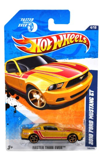 Mattel Year 2010 Hot Wheels Faster Than Ever Series Set (4/10) 1:64 Scale Die Cast Car (144/244) - Gold Color Modern Sport Coupe 2010 FORD MUSTANG GT