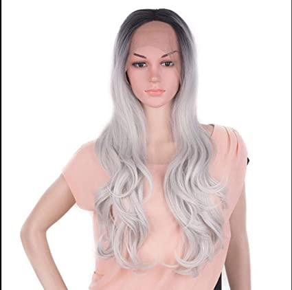 ly Peluca Postizos de encaje de las mujeres frente gradiente gris largo sintético rizado cosplay fiesta