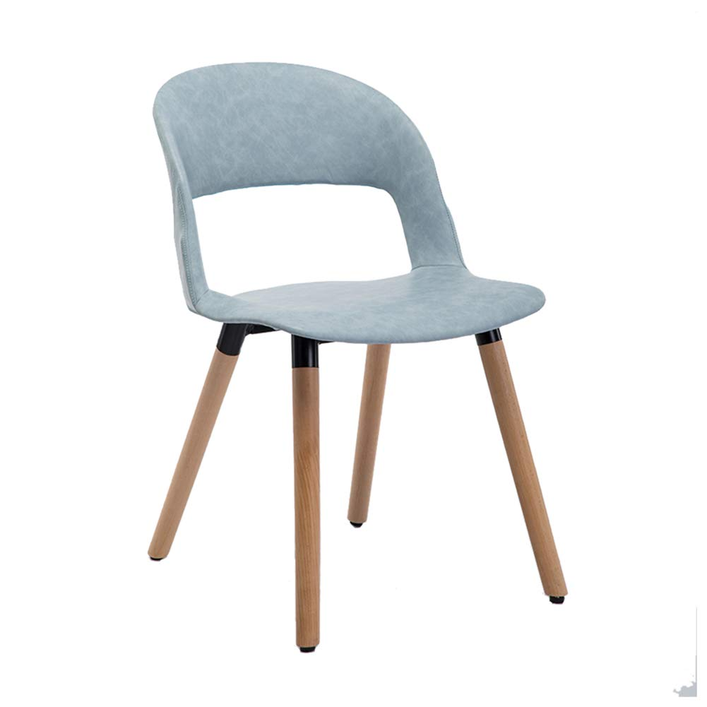 Oil wax leather bluee1 Nordic Solid Wood Dining Chair,Modern Creative Leisure Chair, PP Plastic Makeup Stool,for Restaurant Pub Cafe Living Room Bedroom