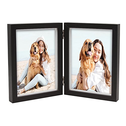 Black Dog Photo - Afuly Double Picture Frame 5x7 Hinged Vertical Black Shadow Box Wooden Photo Frames Dog Memory Gifts