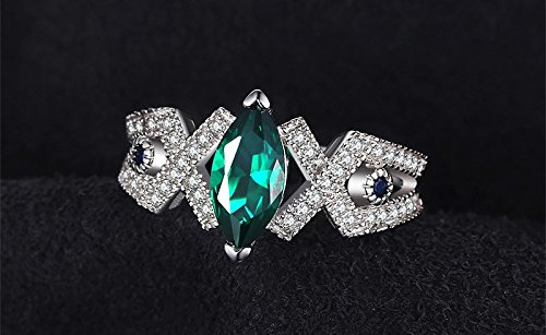 Size 5 2.7ct Created Emerald & Blue Spinel Ring Genuine 925 Sterling Silver Fashion Rings Emerald Spinel Ring