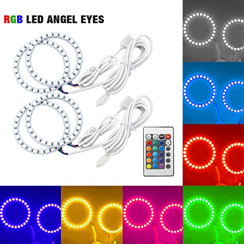 [해외]FEELDO Car RGB Multi-Color LED Angel Eyes Halo Ring Light Kit Wireless Remote Control For FIAT Grande Punto / FEELDO Car RGB Multi-Color LED Angel Eyes Halo Ring Light Kit Wireless Remote Control For FIAT Grande Punto