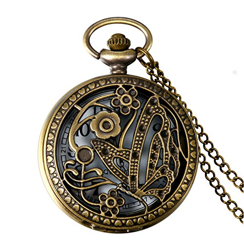 JewelryWe Hollow Bronze Vintage Butterfly Floral Patterns Pocket Watch Pendant Necklace Clock with 31.5 Inch Chain
