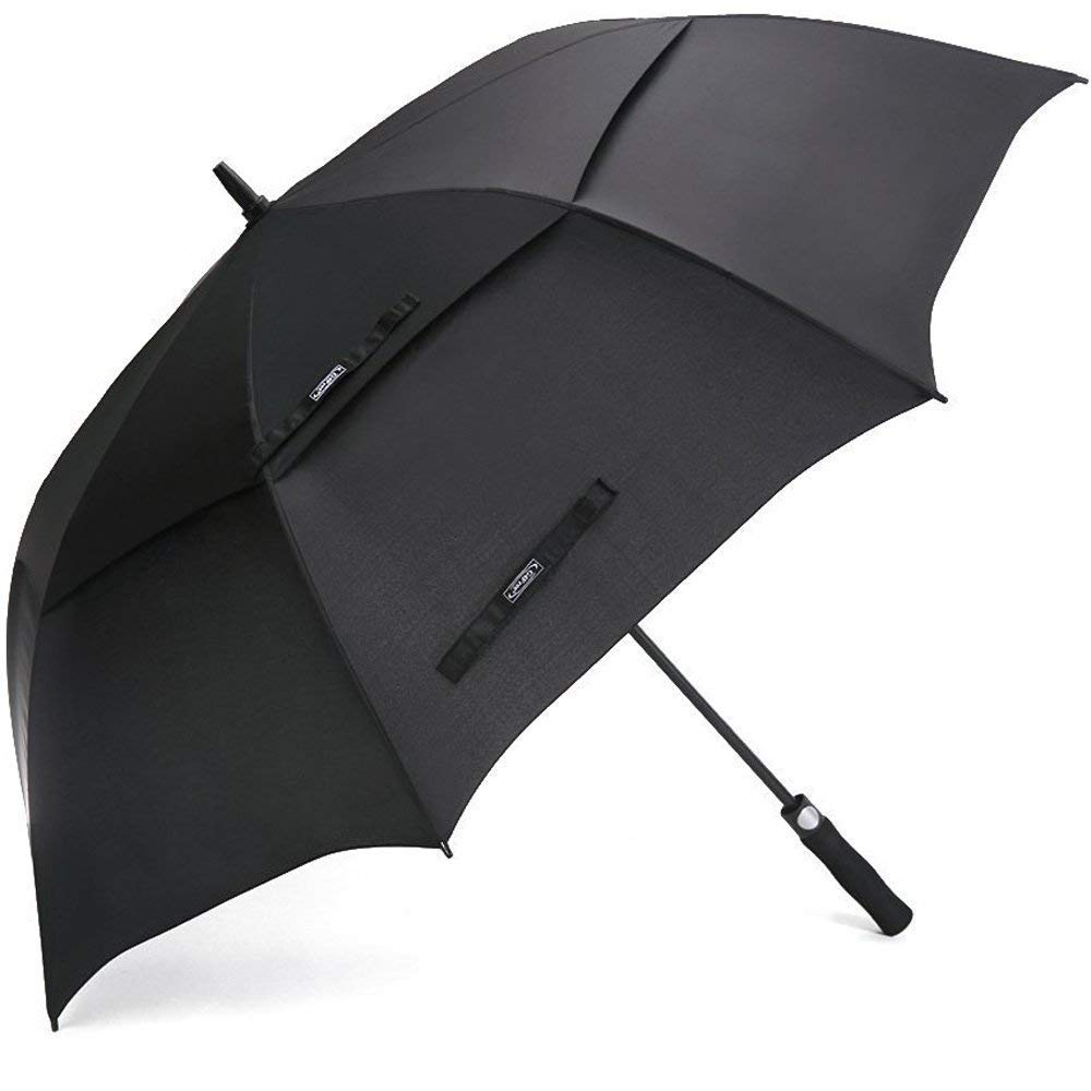 G4Free 54 Inch Automatic Open Golf Umbrella Windproof Extra Large Oversize Double Canopy Vented Windproof Waterproof Stick Umbrellas for Men Black by G4Free