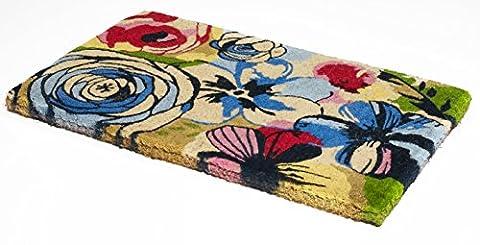 Handwoven Large Doormat | Non-Slip Vinyl Back, Durable Coir, Easy Clean, Stylish | Entryway Door mat For Patio, Front Door | Decorative All-Season | Floral Watercolor | 18
