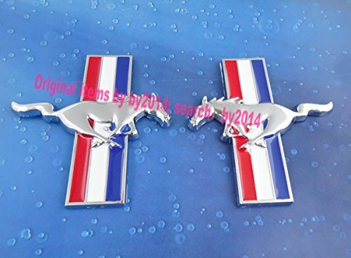(2pcs Auto car Metal Running Horse pony for Mustang Door Fender Emblem Badge Sticker)
