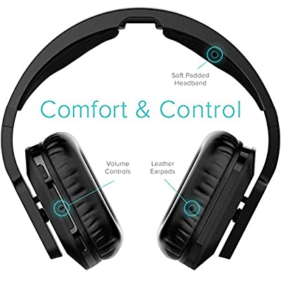 RIF6 Wireless TV Headphones 2.0 Over Ear Cordless Headphone with RF Transmitter - with Electronic Volume Control 20 Hour Rechargeable Battery and Charging Dock for TV MP3 iPods and Smartphones - Black