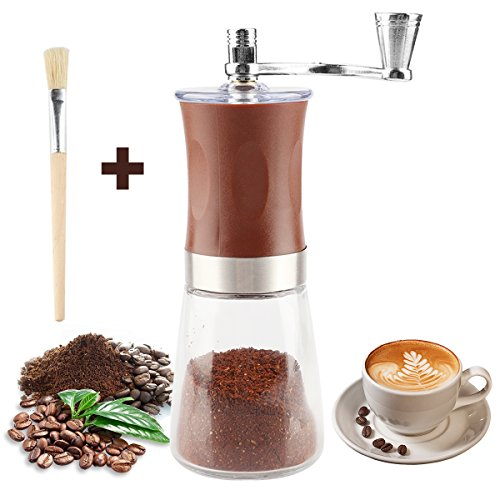 (Manual Coffee Grinder with Soft Brush, Pococina Hand Grinder Ceramic Conical Burr Mill Hand Crank Coffee Bean Grinder for Home Office Travel Camping)