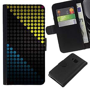 KLONGSHOP // Tirón de la caja Cartera de cuero con ranuras para tarjetas - COLOR Modelo de puntos - HTC One M7 //