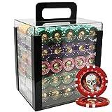 NEW 1000pcs 13.5g Skull Poker Chips Set Acrylic Case Custom Build