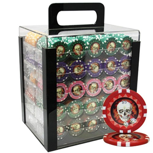 NEW 1000pcs 13.5g Skull Poker Chips Set Acrylic Case Custom Build by Mrc Poker