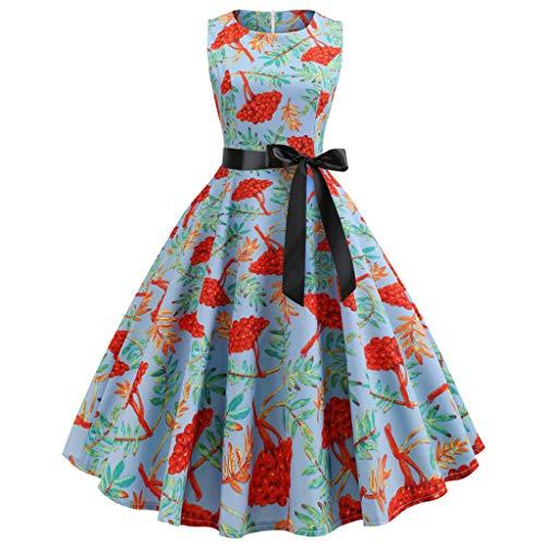 Pgojuni Women Vintage Bodycon O Neck Evening Printing Party Prom Swing Dress
