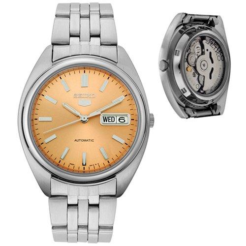 Reloj de caballero automático 21 JW - SEIKO 5 - Acero inoxidable-Esfera salmón-Calendario - Mod. SNXA11K1: Seiko: Amazon.es: Relojes