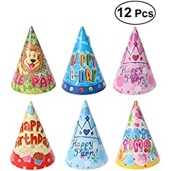 UEETEK 12Pcs Cat Dog Pet Happy Birthday Party Hat 6 Styles with Colorful Pattern Design Cosplay Costume Accessory