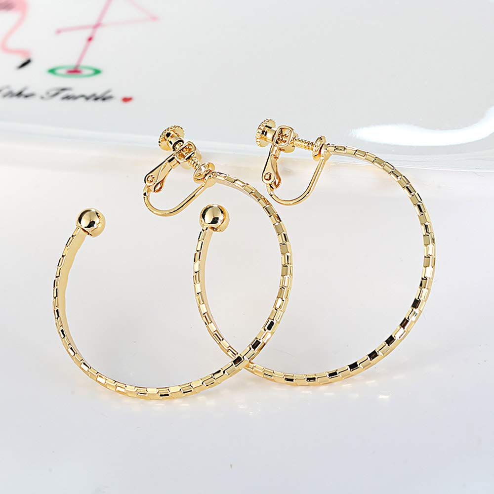 Hoop Circle Clip on Earrings Screw Back non Pierced Daughter Girls 18K Gold Plated Round Bohemian Boho