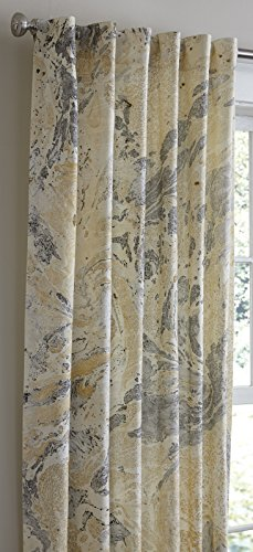 (Updated Black and Gold Marble Print Porto Lined Hidden Tab Panel, 50