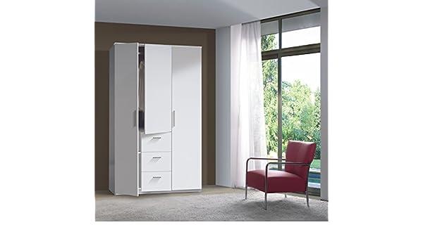 Serena Modern - Armario de 3 puertas con barra para colgar y 3 cajones (melamina), color blanco: Amazon.es: Hogar
