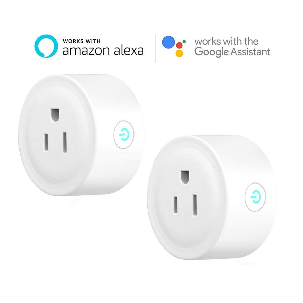 FLOUREON Smart WiFi Outlet Plug Mini Smart Socket Compatible with Amazon Alexa Google Home, No Hub Required, Remote Control Outlet with Timing Function (2packs)