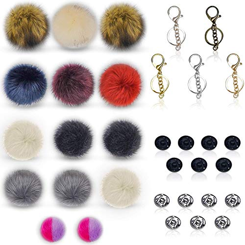 14pcs Fox and Raccoon Faux Fur Pom Pom Balls Multi-Color Plus 5pcs Keychains - Silver Gold Rose Bronze Gunmetal DIY Buttons - Black Silver All-in-1 Pompoms Fluffy Hats Knitting Accessories Charms